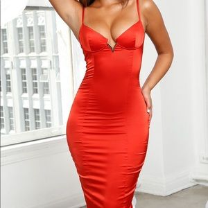 Bust Out Underwired Satin Midi Dress in Cherry Red